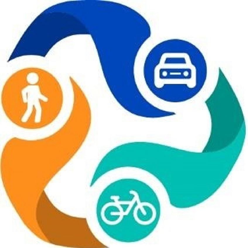 graphic illustration of pedestrian, car, and bicycle